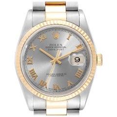 Rolex Datejust 36 Steel Yellow Gold Slate Dial Men's Watch 16233