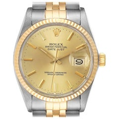 Rolex Datejust 36 Steel Yellow Gold Vintage Men's Watch 16013 Card