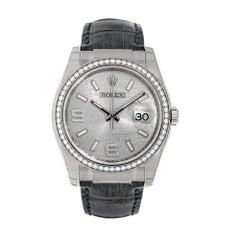 Rolex Datejust 36 White Gold Silver Wave Diamond Dial Watch 116189