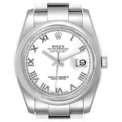 Rolex Datejust 36 White Roman Dial Steel Men's Watch 116200