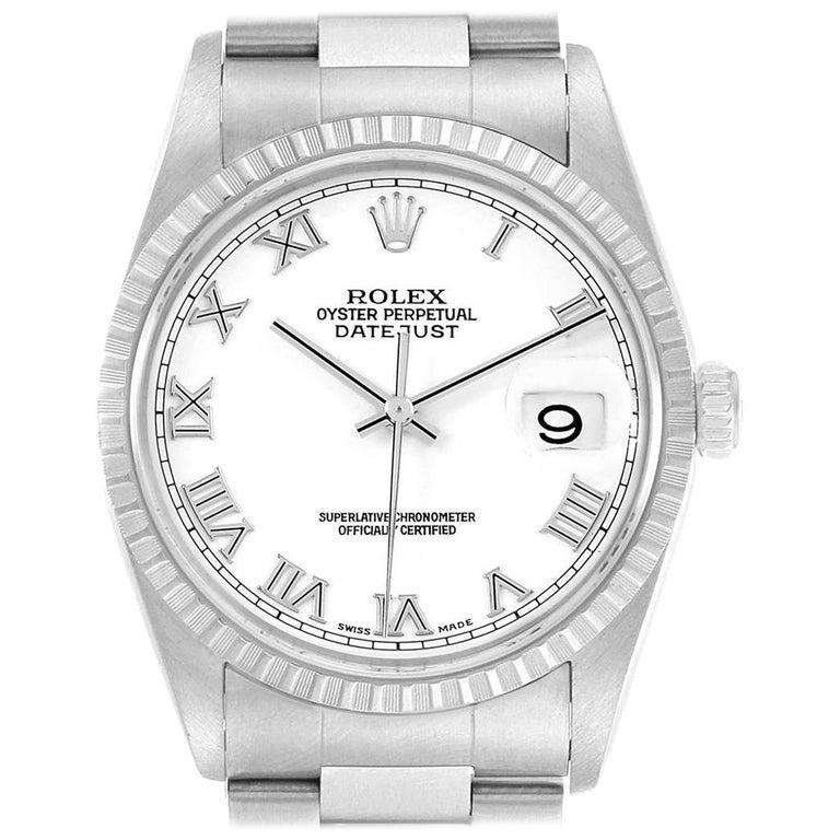 314320d1a1d31 Rolex Datejust 36 White Roman Dial Steel Men's Watch 16220 For Sale ...