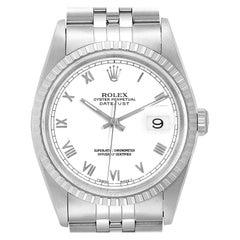 Rolex Datejust 36 White Roman Dial Steel Men's Watch 16220