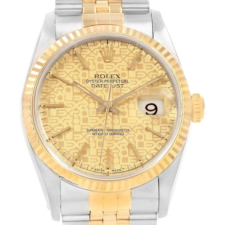 efe6a147426 Men's Rolex Datejust 36 Yellow Gold Steel Anniversary Dial Men's Watch 16233  For Sale
