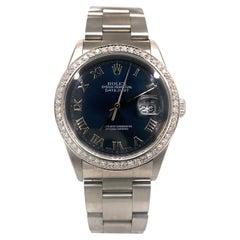 Rolex Datejust 16220 Blue Soleil Dial Diamod Bezel Oyster Perpetual Watch