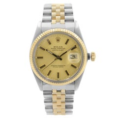 Rolex Datejust 18k Gold Steel Champagne Dial Automatic Mens Watch 16013