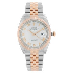 Rolex Datejust 18k Rose Gold Steel White Dial Mens Automatic Watch 126231