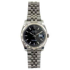 Rolex Datejust Black Dial New Style Bracelet Watch 116234 2015 Box and Papers