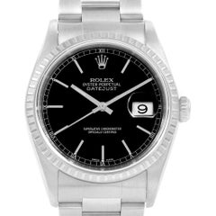 Rolex Datejust Black Dial Oyster Bracelet Steel Men's Watch 16220