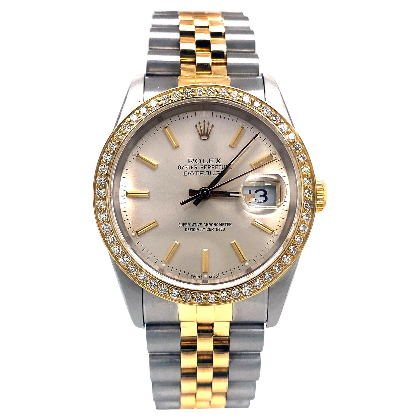 Rolex Datejust Gold & Steel Automatic Men's Oyster Perpetual Watch 16233