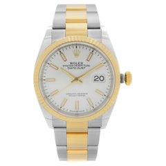 Rolex Datejust Stainless Steel 18k Yellow Gold White Dial Mens Watch 126233