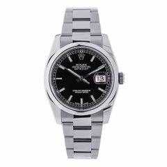 Rolex Datejust Stainless Steel Black Index Dial Watch 116200