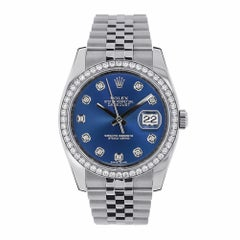 Rolex Datejust Stainless Steel Blue Diamond Dial Diamond Bezel Watch 116244