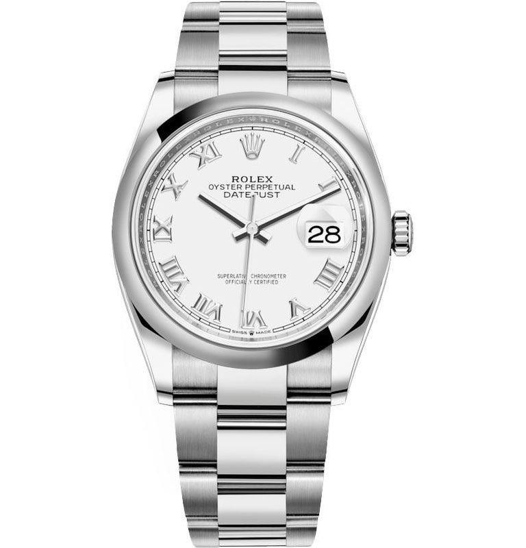 Rolex Datejust Stainless Steel Midsize Watch Model #: 126200 White Roman In New Condition For Sale In Wilmington, DE