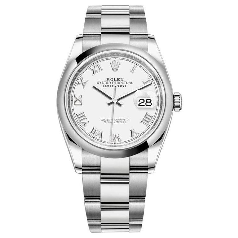 Rolex Datejust Stainless Steel Midsize Watch Model #: 126200 White Roman For Sale