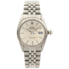 Rolex Datejust Steel 18 Karat White Gold Silver Dial Automatic Men's Watch 16014