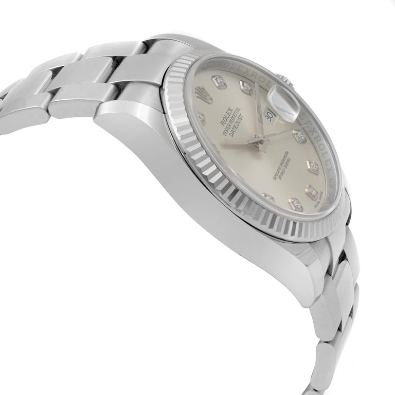 Rolex Datejust Steel 18 Karat White Gold Silver Diamond Dial Watch 116234 In Excellent Condition For Sale In New York, NY