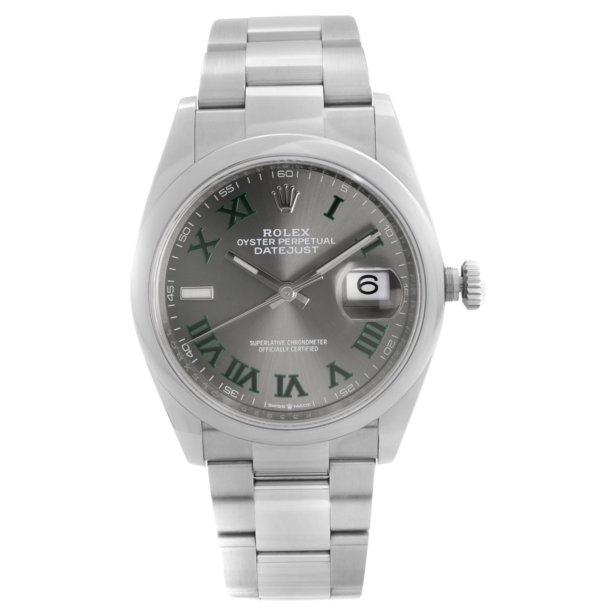 Rolex Datejust Steel Grey Wimbledon Dial Automatic Mens Watch 126200