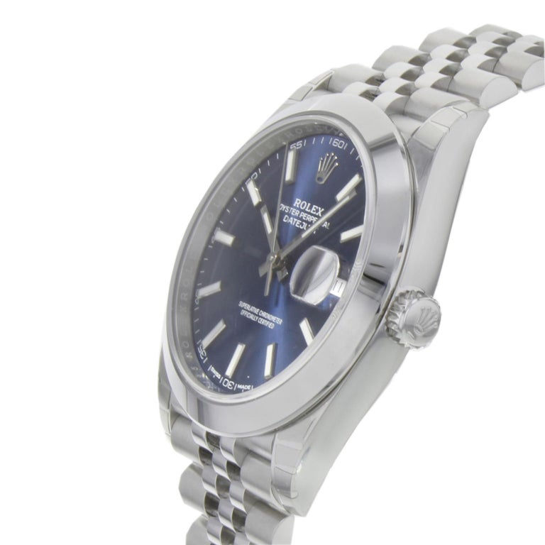 Rolex Datejust 41 126300 Blij Blue Index Dial Steel Automatic Men's Watch In New Condition For Sale In New York, NY