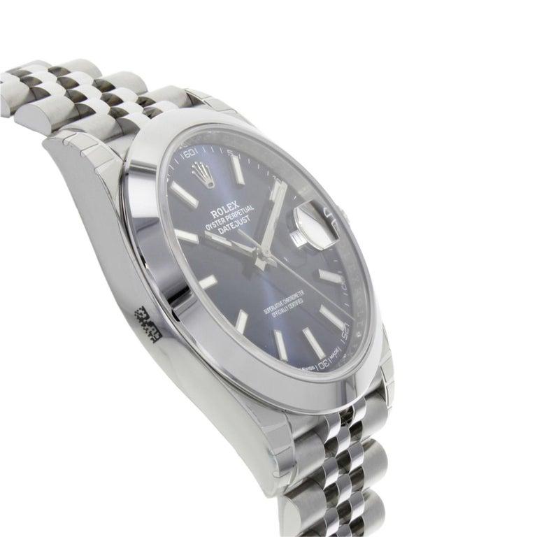 Rolex Datejust 41 126300 Blij Blue Index Dial Steel Automatic Men's Watch For Sale 1
