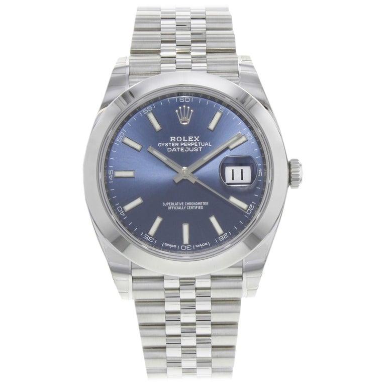 Rolex Datejust 41 126300 Blij Blue Index Dial Steel Automatic Men's Watch For Sale