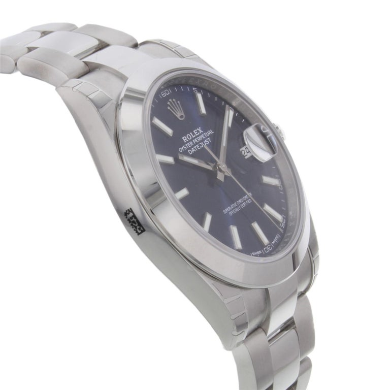 Men's Rolex Datejust 41 126300 Blio Blue Index Stainless Steel Automatic Men's Watch For Sale