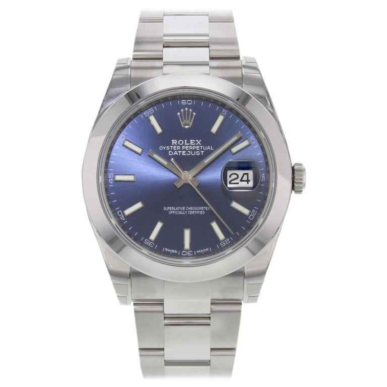Rolex Datejust 41 126300 Blio Blue Index Stainless Steel Automatic Men's Watch For Sale