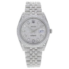 Rolex Datejust 41 126300 Custom Diamonds 20 Carat Steel Automatic Men Watch