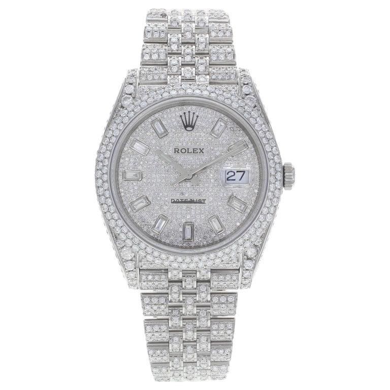Rolex Datejust 41 126300 Custom Diamonds 20 Carat Steel Automatic Men Watch For Sale