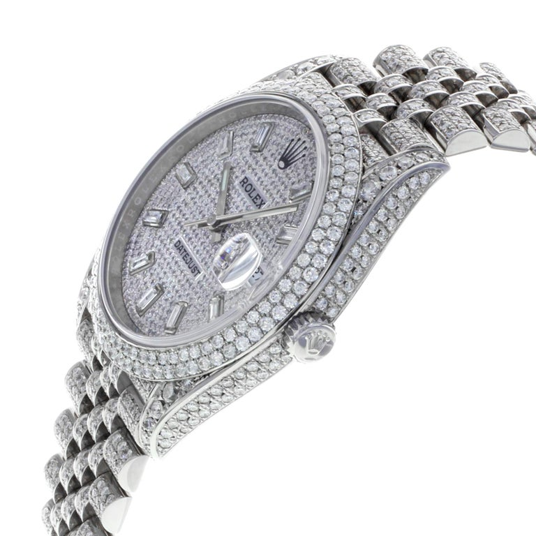 Rolex Datejust 41 126300 Custom Diamonds 20 Carat Steel Automatic Men Watch In Good Condition For Sale In New York, NY
