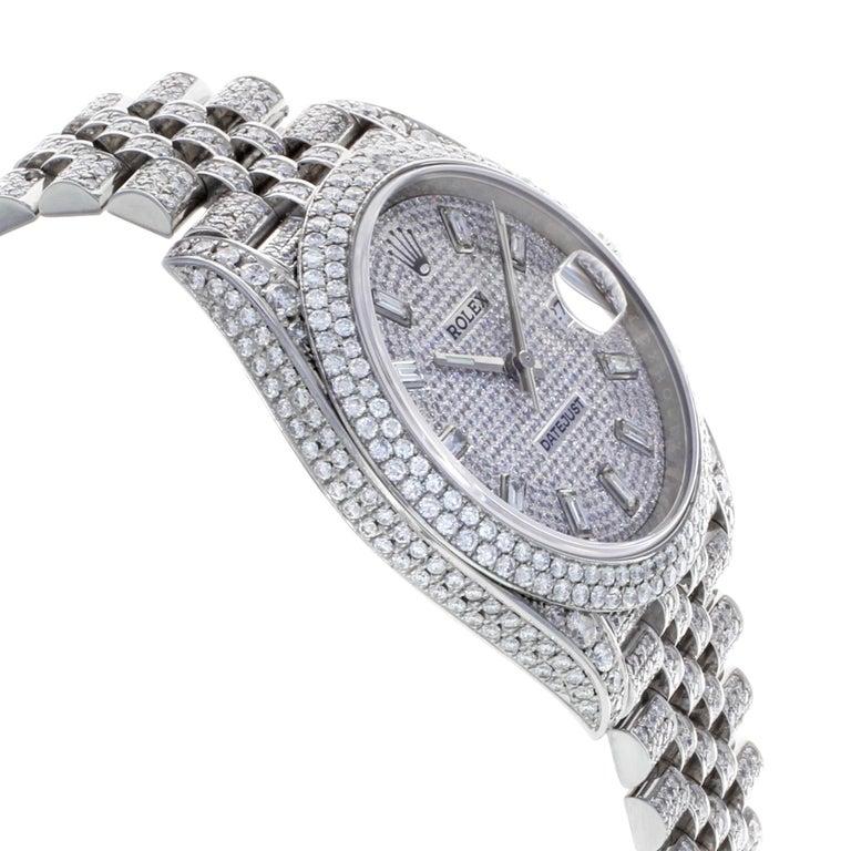 Men's Rolex Datejust 41 126300 Custom Diamonds 20 Carat Steel Automatic Men Watch For Sale