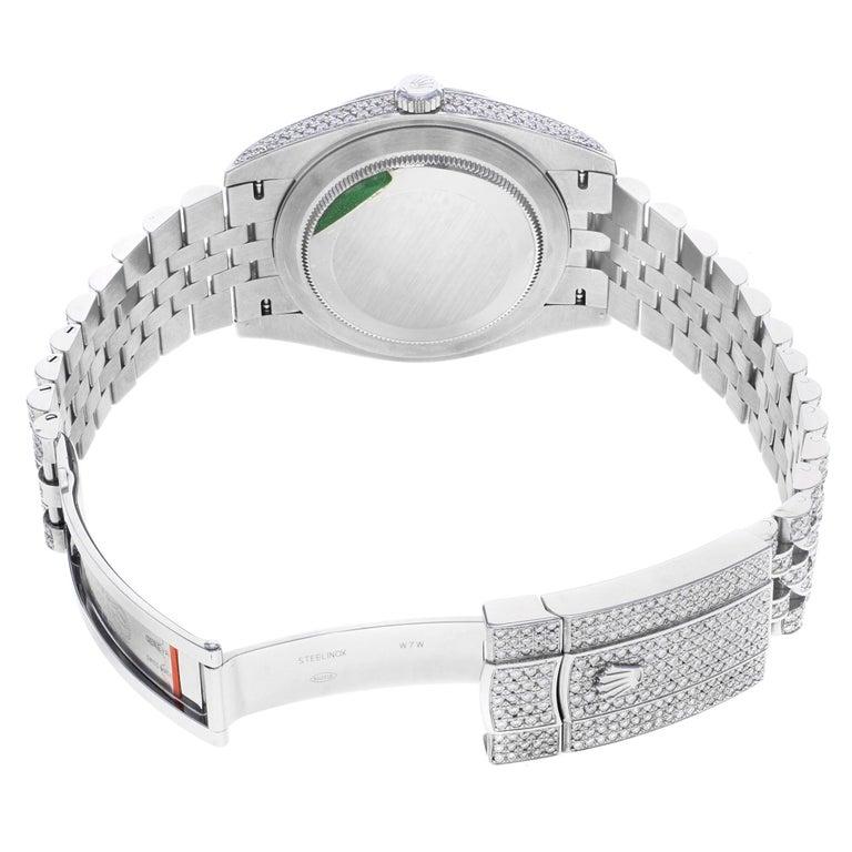 Rolex Datejust 41 126300 Custom Diamonds 20 Carat Steel Automatic Men Watch For Sale 1