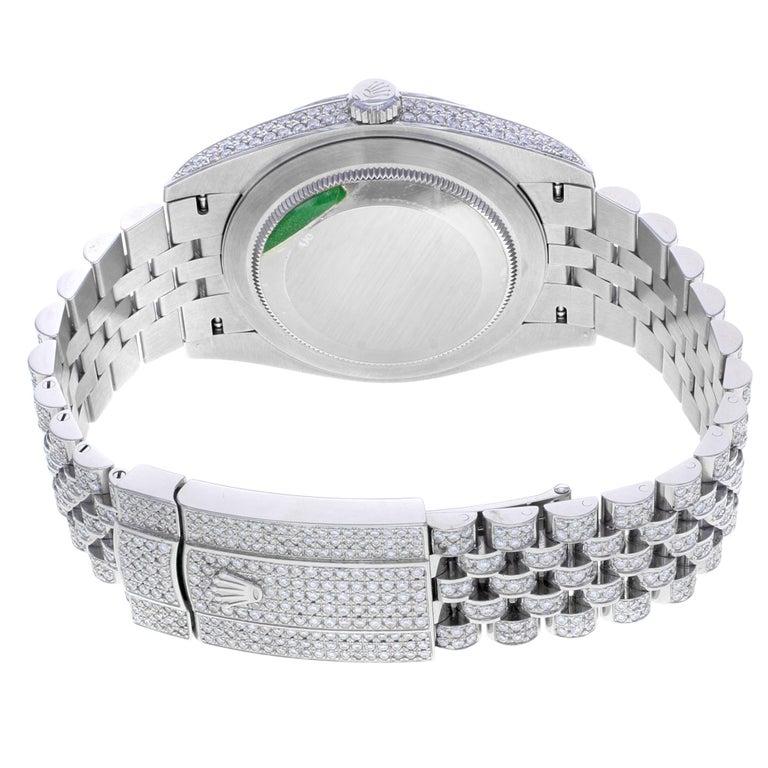 Rolex Datejust 41 126300 Custom Diamonds 20 Carat Steel Automatic Men Watch For Sale 2