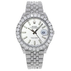 Rolex Datejust 41 126300 Custom Diamonds 20Ct White Stick Dial Automatic Watch