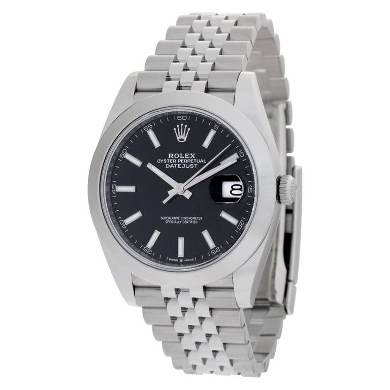 Modern Rolex Datejust 41 126300 Stainless Steel Black Dial Automatic Watch For Sale