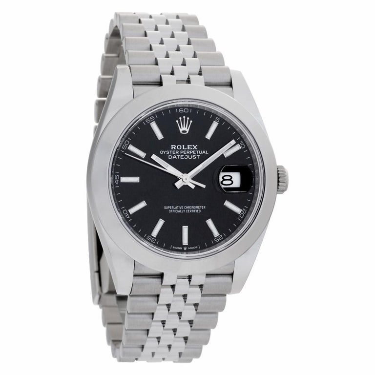 Rolex Datejust 41 126300 Stainless Steel Black Dial Automatic Watch In Excellent Condition For Sale In Miami, FL
