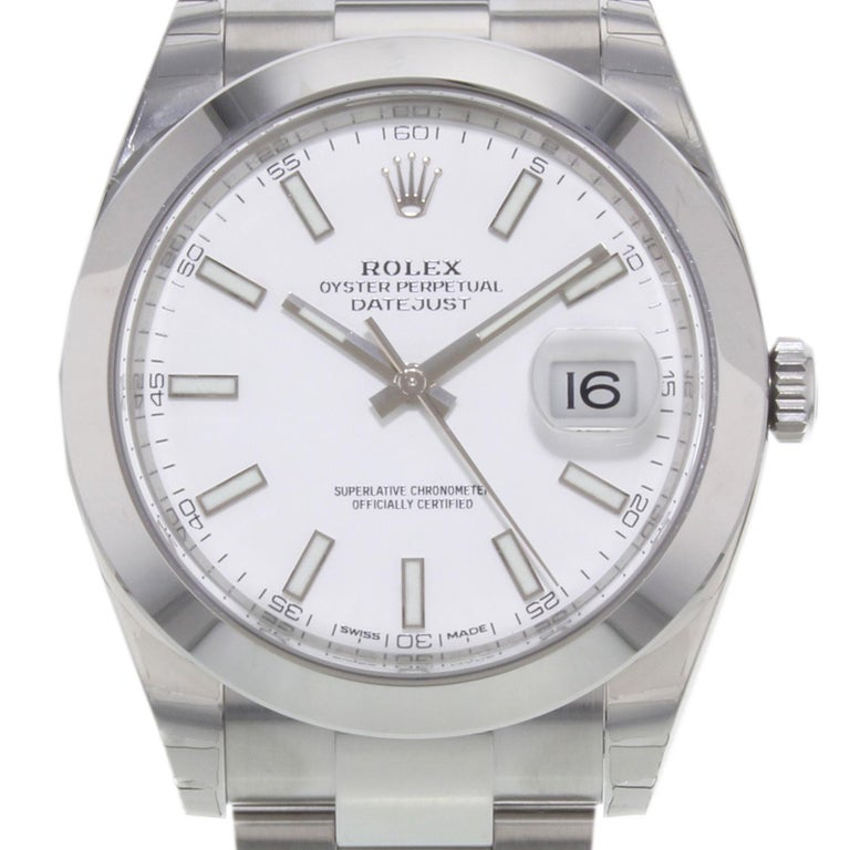 (19547) This brand new Rolex Datejust 41 126300 wio is a beautiful men's timepiece that is powered by an automatic movement which is cased in a stainless steel case. It has a round shape face, date dial and has hand sticks style markers. It is