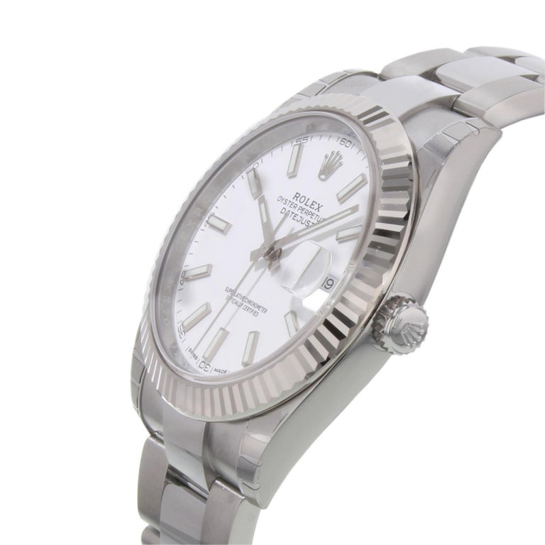 Rolex Datejust 41 126300 Wio White Index Dial Steel Automatic Men's Watch In New Condition For Sale In New York, NY