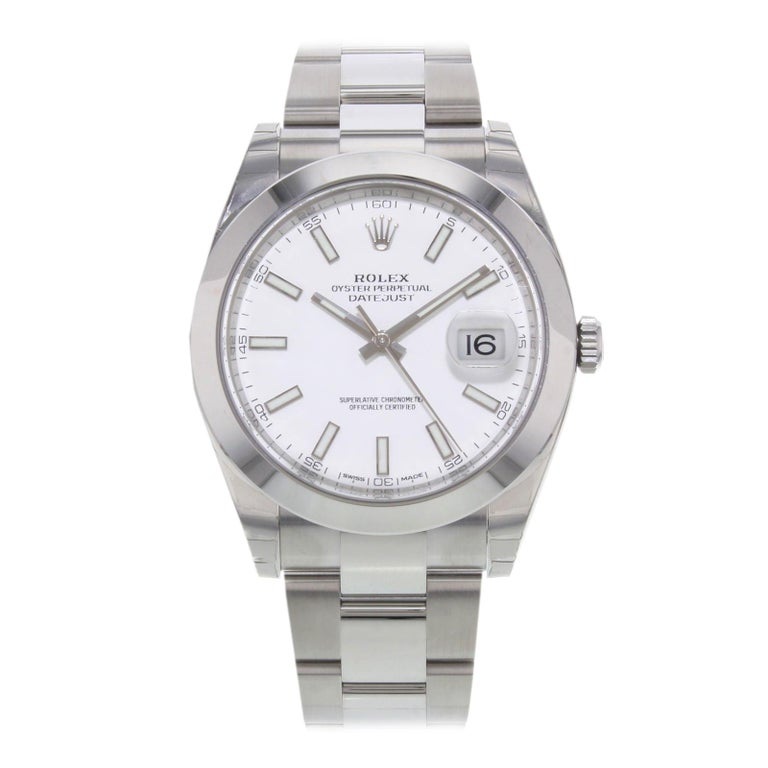 Rolex Datejust 41 126300 Wio White Index Dial Steel Automatic Men's Watch For Sale