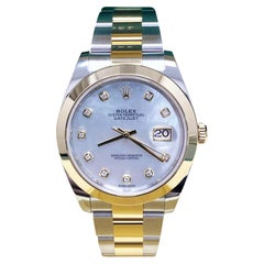 Rolex Datejust 41 126303 MOP Diamond Dial 18K Yellow Gold Steel Box Papers, 2018