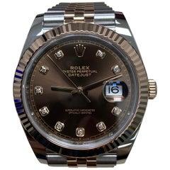 Rolex Datejust 41 126331 Chocolate Diamond Dial 18 Karat Gold Stainless Steel