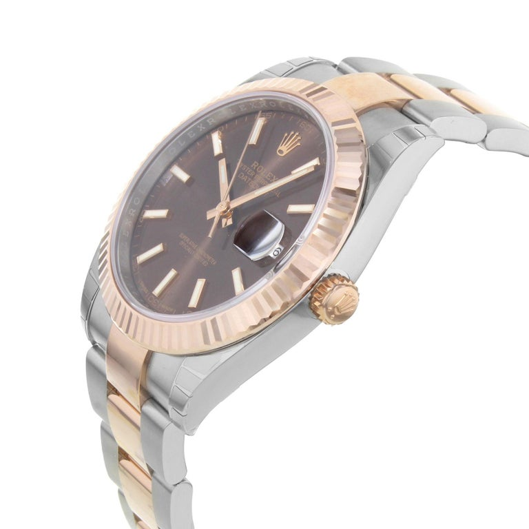 Rolex Datejust 41 126331 Choio 18 Karat Rose Gold Steel Automatic Men's Watch In New Condition For Sale In New York, NY