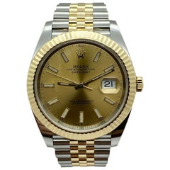 Rolex Datejust 41 126333 Champagne 18 Karat Yellow Gold Stainless Box Paper