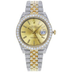 Rolex Datejust 41 126333 Custom Diamonds 17 Carat Steel Yellow Gold Men's Watch