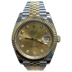 Rolex Datejust 41 126333 Diamond Dial 18 Karat Yellow Gold Steel Box Paper 2017