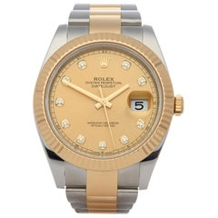 Rolex Datejust 41 126333 Men's Stainless Steel and Yellow Gold Diamond Watch