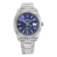 Rolex Datejust 41 126334 Blio 18 Karat White Gold Steel Automatic Men's Watch