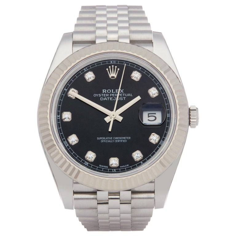 Rolex Datejust 41 126334 Men's Stainless Steel Diamond Watch For Sale