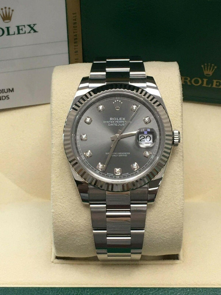 Rolex Datejust 41 126334 Rhodium Diamond Dial Stainless Steel 18K Box Paper 2018 In Excellent Condition For Sale In San Diego, CA