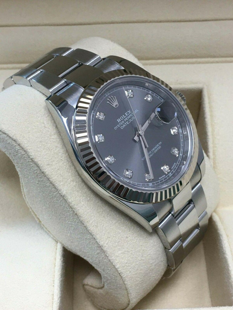 Men's Rolex Datejust 41 126334 Rhodium Diamond Dial Stainless Steel 18K Box Paper 2018 For Sale