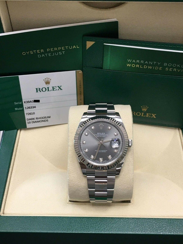 Rolex Datejust 41 126334 Rhodium Diamond Dial Stainless Steel 18K Box Paper 2018 For Sale 1
